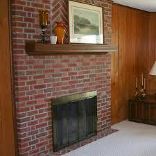 pleasant red brick wall fireplace ideas plus amusing wooden shelf