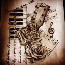 drawn music notes amazing music pencil and in color drawn music