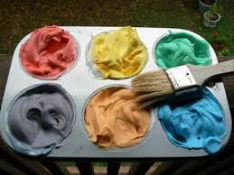 shaving cream and food coloring make a good bathtub paint fun