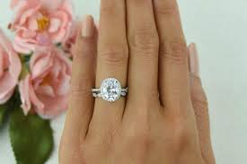 vintage oval engagement rings 3 25 ctw vintage style wedding set bridal halo ring made