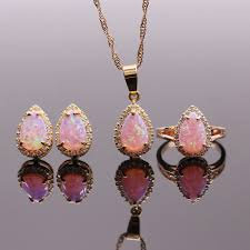 pink opal necklace images 8x12mm pink opal jewelry sets fire opal necklaces rings earrings jpg