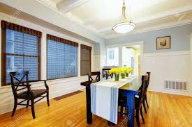 Blue Dining Room by Grey Blue Dining Room Interior With Black Table And Wood Floor