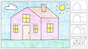 drawing a house how to draw a house art projects for kids