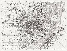 Map Of Munich Germany by City Map Of Munich Wood Engraving Published In 1854 Stock Vector