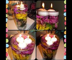 diy flower centerpiece with floating tea lights