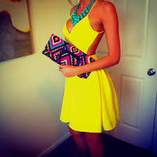 yellow turquoise necklace images Dress short dress yellow dress open back necklace turquoise jpg
