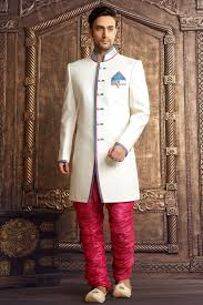 wedding collection for mens white brocade worked staright cut sherwani sh138 from
