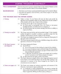 sample training contract templates 8 training agreement form