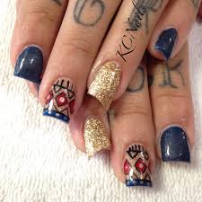 navy acrylic nails lipstick nail navy blue gold tan tribal