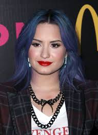 demi lovato shower off her new blue and purple hair color with a
