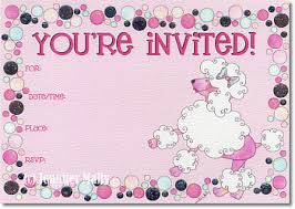 Blank Invitations Jennifer Mally U0027s Have A Heart Creations Pretty Pink Poodle Fill