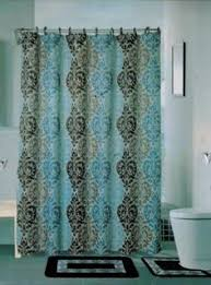 Teal And Brown Shower Curtain Poetica Faux Silk Aqua Blue Teal Brown Turquoise Fabric Bathroom