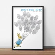 peter rabbit baby shower guest book poster peter holding