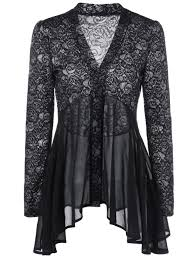 black button up blouse 2018 button up floral lace blouse black xl in blouses store