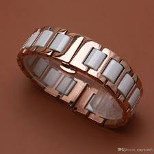 white ceramic bracelet images Straight ends watchband rosegold stainless steel metal wrap white jpg