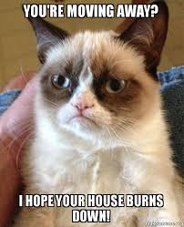 Moving Away Meme - you re moving away i hope your house burns down grumpy cat