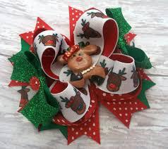 cutest reindeer christmas hair bow boutique handmade christmas