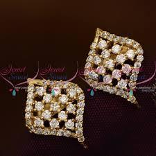 small earrings design er8655 stylish ad white floral design semi precious small size