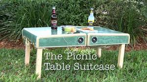 How To Make A Round Wooden Picnic Table by Diy Picnic Table Suitcase Youtube