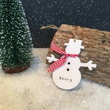 personalised wooden snowman christmas decoration by alphabet
