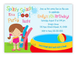 Kids Birthday Party Invitation Card Sweet Kids Birthday Pool Party Invitation Idea With Wording And