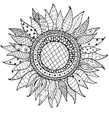 zentangle sunflowers ornament for coloring book stock