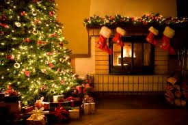 impressive christmas tree with natural stone of fireplace combined