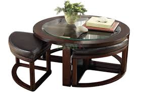 Glass Round Coffee Table by Furniture Round Coffee Table With Stools Ideas Dark Brown