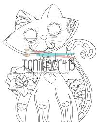 sugar skull cat drawing instant digital download coloring