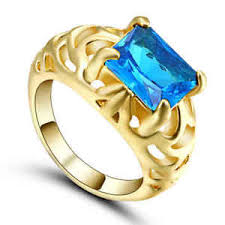 s ring jewelry size 8 luxury blue aquamarine 10kt yellow gold filled
