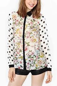 print blouses floral print polka dot sleeve shirt womens shirts blouses