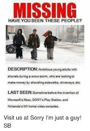 Snowstorm Meme - missing description ambitious young adults with shovels during a