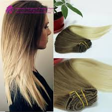 Cheap Thick Clip In Hair Extensions by 14 16 18 20 22 24 26inch 2 Tone T4 613 Ombre Clip In Indian Human