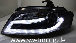 audi a4 b8 grill upgrade swdrl headlights for audi a4 b8 8k 08 11 led drl black sw tuning