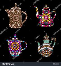 vector set ornamental orient teapots stock vector 297022565