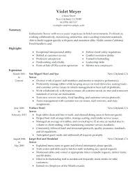 sample resume server experience resumes 9 free word format