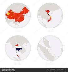 Singapore Flag Button China Vietnam Thailand Singapore Map Contour And National Flag