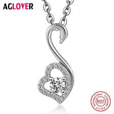 silver necklace woman images Charm heart necklace 100 sterling silver woman fashion swan jpg