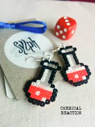 chemist earrings cerise colored bright pink pixelart chemical reaction potion
