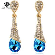 drop earings dlshtmb austrian blue earrings colorful fancy water