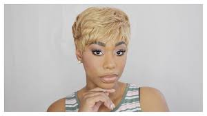 tutorial for black bonded weave hairstyles quick weave blonde pixie hair tutorial chimerenicole youtube