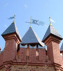 castle towers bricks roof feather vane forge ornament