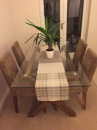 glass dining table u0026 suede chairs in malton north yorkshire