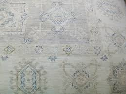 Grey And Tan Rug 100 Wool Hand Knotted Rug Geometric Design Ivory Blue Tan
