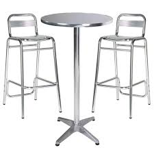 Aluminium Bistro Table And Chairs Bar Stools 9 Piece Counter Height Dining Set Round Pub Table