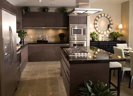 modern kitchen with brown cabinets contemporary kitchen with brown cabinets and black