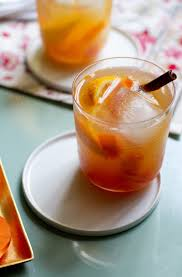 spiced persimmon old fashioned cocktail
