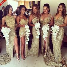 gold bridesmaid dresses 5 styles sequins side slit mermaid lace gold bridesmaid gowns