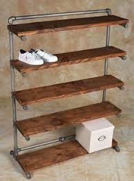 Industrial Closet Organizer - wall fixture reclaimed wood shelf display or closet organizer