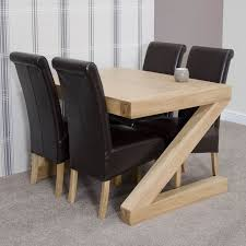 z solid oak designer furniture dining table and four chairs set